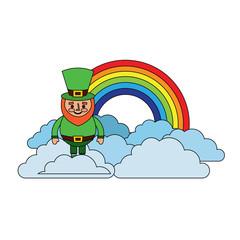 standing cartoon leprechaun on cloud rainbow vector illustration