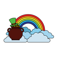 hat of leprechaun with pot coins treasure rainbow cloud fantasy vector illustration
