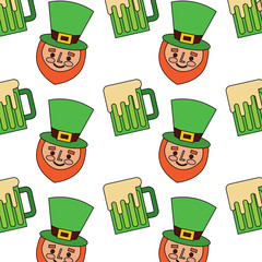 happy face leprechaun and beer glass pattern vector illustration