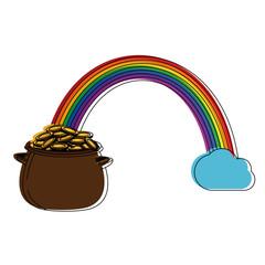 pot with rainbow icon vector illustration graphic design