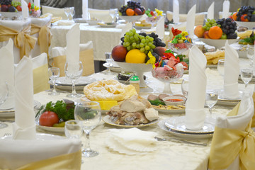 Table in the restaurant for  Banquet.