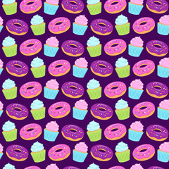 Seamless colorful pattern with donuts and cupcakes on violet background. Vector illustration