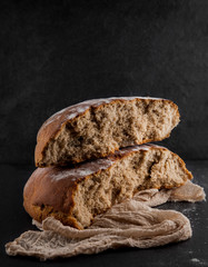 freshly baked rye, sourdough bread, rustic studio picture, can be used as background
