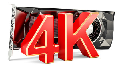Computer video card GPU with high resolution 4K, 3D rendering