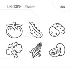 Line Icon of Vegetables, Isolated Object. Line icons set.