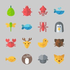 Icons about Animals with dragonfly, penguin, cocoon, ladybug, cat and mouse