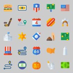 Icons about United States with washington monument, sheriff, hat, white house, hamburger and money