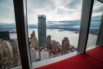 Fotomurales - Window view from luxury apartment in New York City Manhattan. Real estate concept.