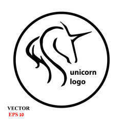 UNICORN HEAD LOGO ICON SYMBOL