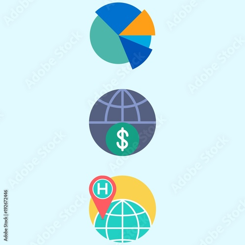 Icons About Marketing With Pie Chart Worldwide And Internet Stock