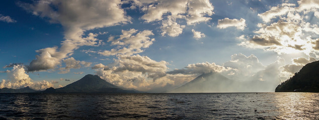 Lake Atitlan with volcano in Guatemala.
