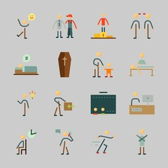 Icons about Human with happy man, baby, man, father, father and son and television