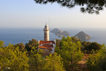Lighthouse at Gelidonya Cape in Mediterranean sea, Antalya.