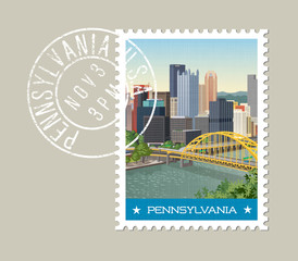 Pennsylvania postage stamp design. Vector illustration of Pittsburgh skyline. Grunge postmark on separate layer.