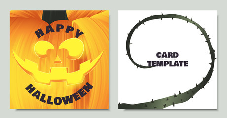 Carved Halloween pumpkin head jack lantern close up, vine and thorn, card template design