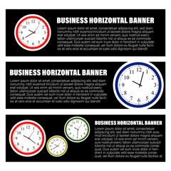 Set of three horizontal business banners. Vector illustration