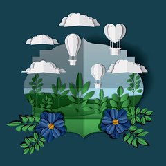 beautiful landscape with balloons air hot craft vector illustration design