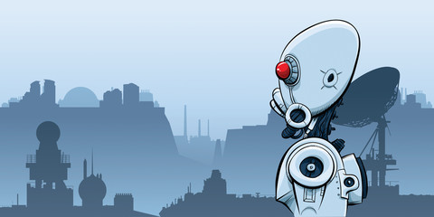 A cartoon, science fiction robot alone in a desolate, post-apocalyptic landscape of the future.