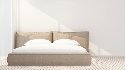 Bedroom and empty space in hotel or apartment on sunshine day - bedroom artwork room for rent fo apartment or other room - 3D Rendering