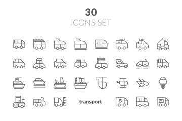 Simple Set of Public Transport Related Vector Line Icons. Contains such Icons as Taxi, Train, Tram and more.