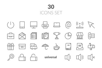 Simple Set of Basic Interface Related Color Vector Line Icons. Contains such Icons as Contact, Info, Alert, Notification, Settings, User Profile and more.