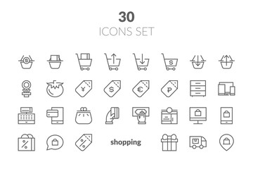 Simple Set of Shopping Cart Related Vector Line Icons. Contains such Icons as Express Checkout, Mobile Shop, Add, Refresh and more.
