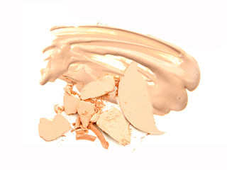 Cosmetic powder on beige foundation isolate.