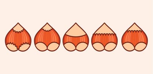 butt nut vector flat icon illustration