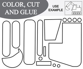 Use scissors and glue to create the image of excavator (transport) and color. Vector illustration. Game for children.