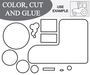 Create the image of tractor (transport) using scissors and glue. Educational paper game for children. Vector illustration.