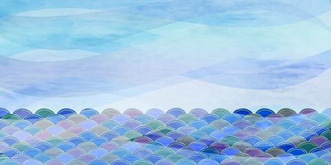 海 波 和紙 背景