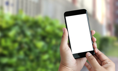 Close up man hands using smart phone Technology and phone technology trends