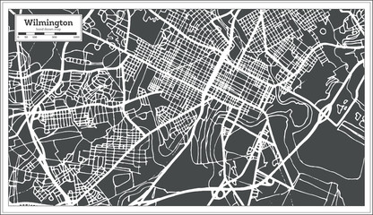 Wilmington USA City Map in Retro Style. Outline Map.