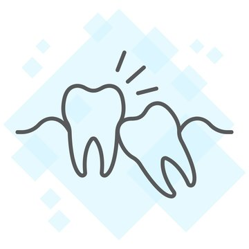 Wisdom teeth thin line icon, stomatology and dental, impacted tooth sign vector graphics, a linear pattern on a white background, eps 10.
