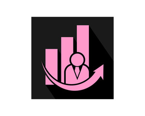 black business chart human silhouette image vector icon logo symbol