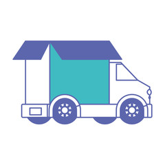 truck delivery with carton box service icon vector illustration design