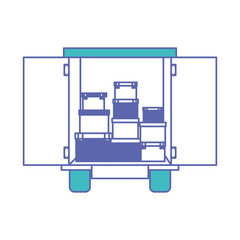 truck delivery with carton boxes service icon vector illustration design