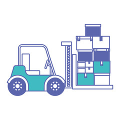 forklift vehicle lifting boxes vector illustration design