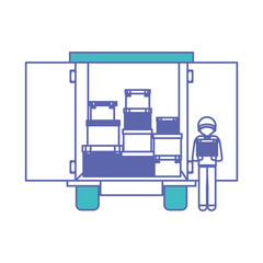 truck delivery with carton boxes and courier vector illustration design
