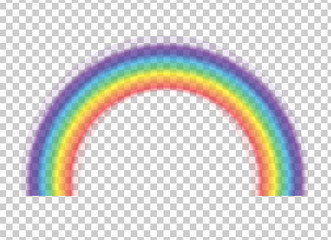 Rainbow icon isolated on transparent background. Spectrum fantasy pattern. Vector realistic translucent sky rainbow template.
