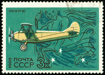 Ukraine - circa 2018: A postage stamp printed in USSR show Aircraft Po-2. Centaur. Po-2 served as a general-purpose Soviet biplane, nicknamed Kukuruznik. Circa 1969.
