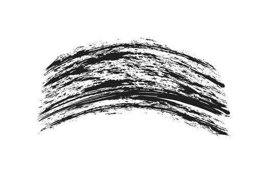Mascara eyelashes brush stroke makeup isolated on white background. Vector black hand drawn lash scribble mascara texture swatch for fashion cosmetic makeup design.