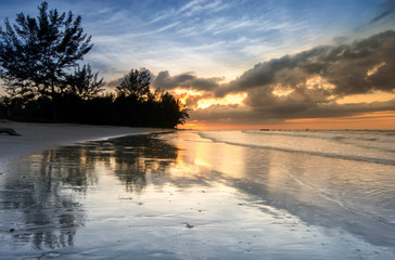 beautiful view of sunset seascape at Terongkongan Beach, Kudat Malaysia.