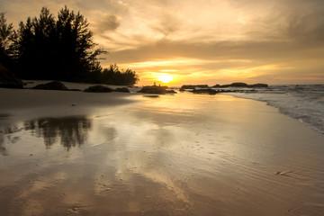 beautiful view of sunset seascape at Terongkongan Beach, Kudat Malaysia.