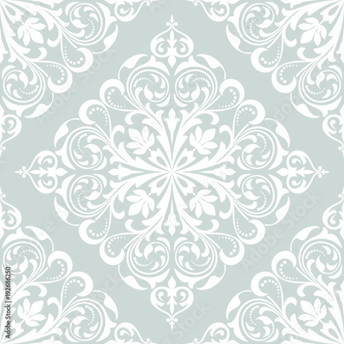 Floral Pattern Wallpaper Baroque Damask Seamless Vector Background White And Blue Ornament