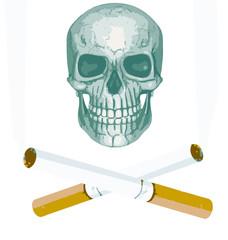 Genial vector de calavera pirata con cigarros tirando humo