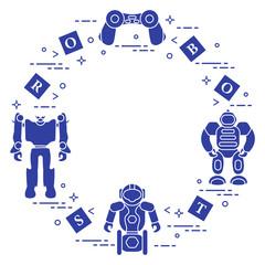 Toys for children: robots, remote control, cubes.