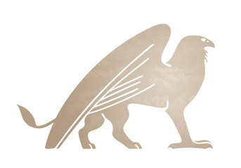 Silhouette of griffin. Stylized tattoo, graphic image. Vector illustration of mythical creature.