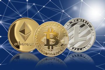 仮想通貨/イーサリアム,ライトコイン,ビットコイン,とブロックチェーンイメージ