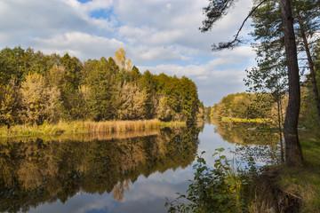 Golden autumn . River landscape
